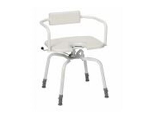 Duschhocker drehbar mit Arm- +Rückenlehne, Hygienesitz 45x40cm, H:45-60cm 130kg belastbar
