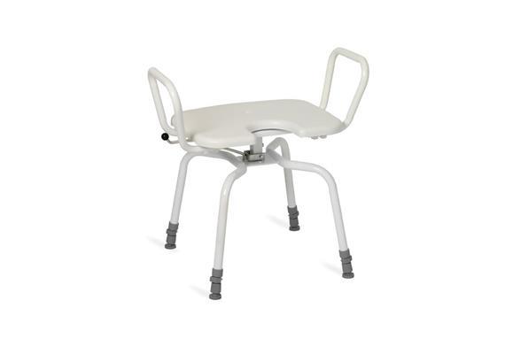 Duschhocker drehbar mit Armlehne + Hygienesitz 45x40cm, H:45-60cm, 130kg belastbar