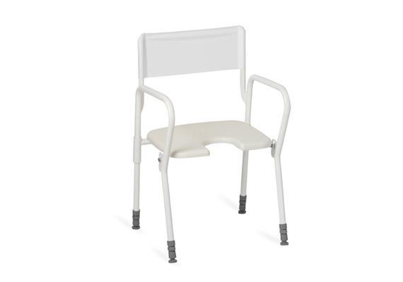 Duschhocker faltbar mit Arm- und Rückenlehne, Hygienesitz 45x40cm, H:45-60cm, 8,1kg