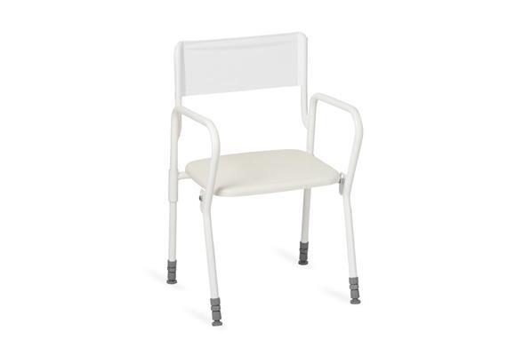 Duschhocker faltbar mit Arm- und Rückenlehne, Standard-Sitz 45x40cm, H:45-60cm, 8,1kg