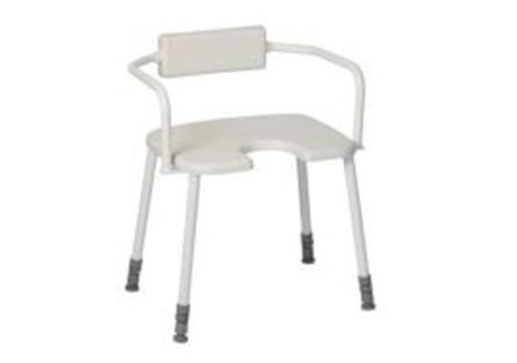 Duschhocker mit Arm-Rückenlehne Combi + Antirutsch-Hygienesitz45x40cm, H:43-58cm,