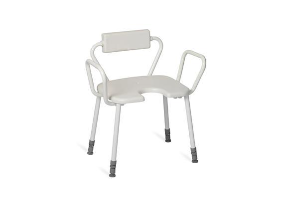 Duschhocker mit Arm-+Rückenlehne PU +Antirutsch-Hygienesitz 45x40cm, H:43-58cm