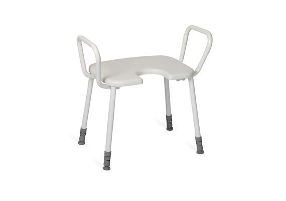 Duschhocker mit Armlehne+Antirutsch-Hygienesitz, 45x40cm, H:43-58cm, 150kg belastbar