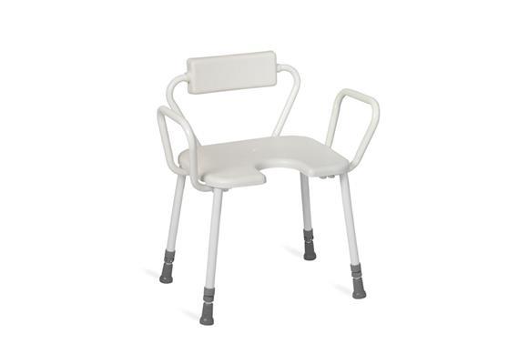 Duschhocker XL mit Arm-+Rückenlehne PU +Antirutsch-Hygienesitz 45x40cm, H:43-58cm 200kg