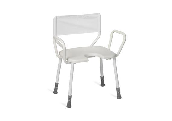 Duschhocker XL mit Arm-+Rückenlehne soft +Antirutsch-Hygienesitz 45x40cm, H:43-58cm, 200kg