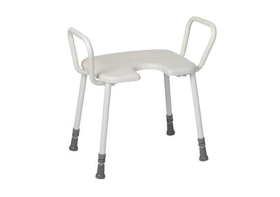 Duschhocker XL mit Armlehne+Antirutsch-Hygienesitz 45x40cm, H:43-58cm, 200kg belastbar