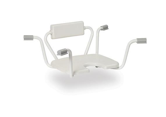 Einhänge-Badewannensitz mit Hygieneausschnitt und Rücken fest, B69-78cm, max 130kg
