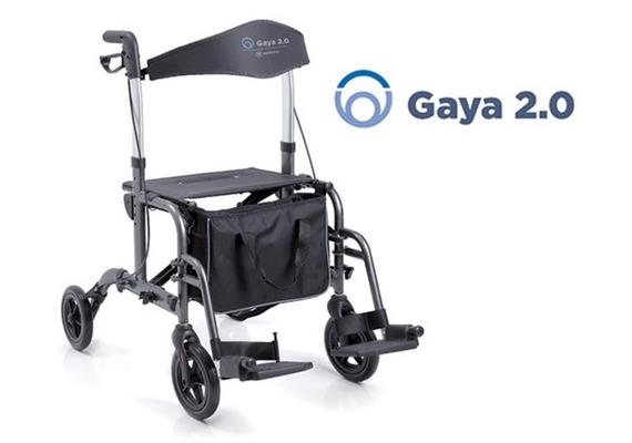 Rollator/Rollstuhl Gaya 2.0 silber mit Rückenbügel - Doppelfunktion