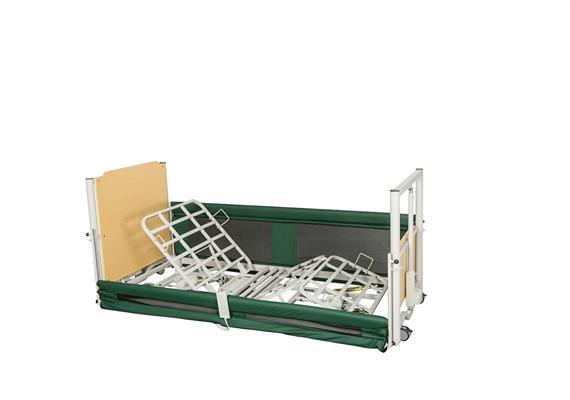 Lit de soins ultra bas Teresa 10-65 cm avec potence de lit en 2-pièces